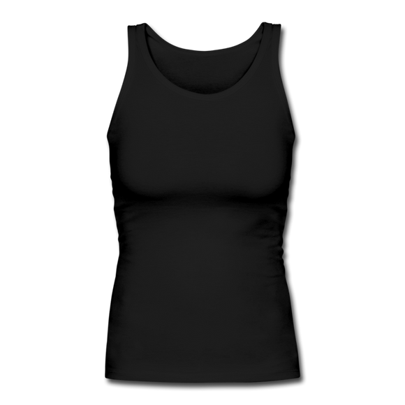 Customizable Women's Longer Length Fitted Tank add your own photos, images, designs, quotes, texts and more - black