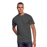 Customizable Men's 50/50 T-Shirt add your own photos, images, designs, quotes, texts and more - charcoal