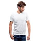 Customizable Men's V-Neck T-Shirt add your own photos, images, designs, quotes, texts and more - white