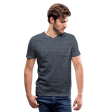Customizable Men's V-Neck T-Shirt add your own photos, images, designs, quotes, texts and more - heather navy