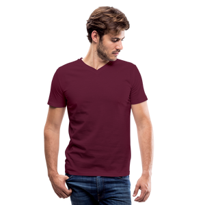 Customizable Men's V-Neck T-Shirt add your own photos, images, designs, quotes, texts and more - maroon