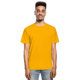 Customizable Hanes Adult Tagless T-Shirt add your own photos, images, designs, quotes, texts and more - gold