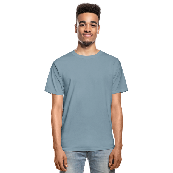 Customizable Hanes Adult Tagless T-Shirt add your own photos, images, designs, quotes, texts and more - stonewash blue