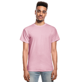 Customizable Gildan Ultra Cotton Adult T-Shirt add your own photos, images, designs, quotes, texts and more - light pink
