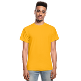 Customizable Gildan Ultra Cotton Adult T-Shirt add your own photos, images, designs, quotes, texts and more - gold