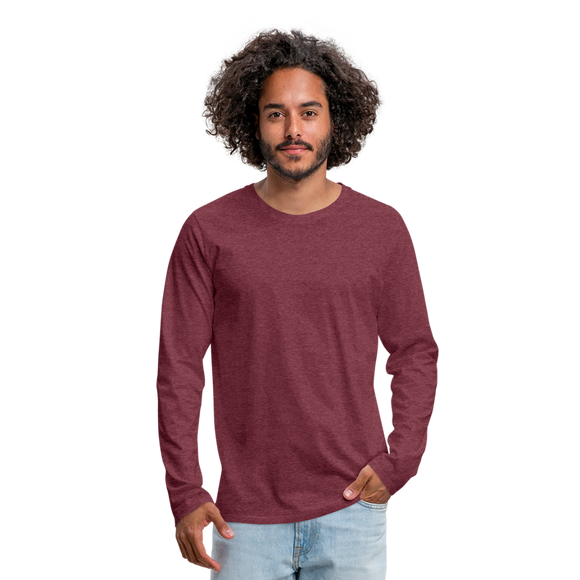 Customizable Men's Premium Long Sleeve T-Shirt add your own photos, images, designs, quotes, texts and more - heather burgundy