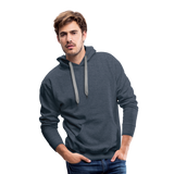 Customizable Men's Premium Hoodie add your own photos, images, designs, quotes, texts and more - heather denim