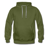 Customizable Men's Premium Hoodie add your own photos, images, designs, quotes, texts and more - olive green