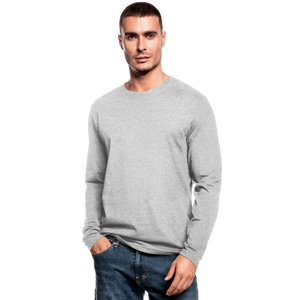 Customizable Men's Long Sleeve T-Shirt by Next Level add your own photos, images, designs, quotes, texts and more - heather gray