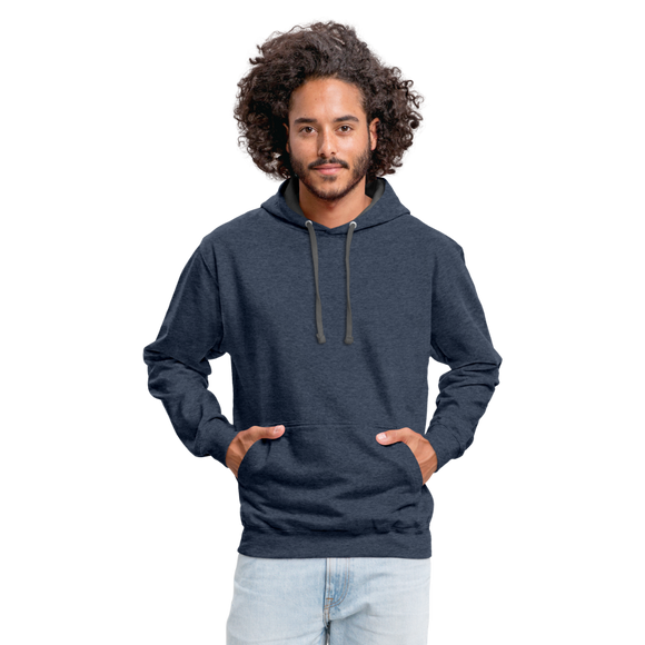 Customizable Unisex Contrast Hoodie add your own photos, images, designs, quotes, texts and more - indigo heather/asphalt