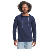 Customizable Unisex Lightweight Terry Hoodie add your own photos, images, designs, quotes, texts and more - heather navy
