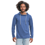 Customizable Unisex Lightweight Terry Hoodie add your own photos, images, designs, quotes, texts and more - heather Blue