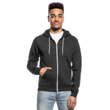 Customizable Unisex Fleece Zip Hoodie add your own photos, images, designs, quotes, texts and more - charcoal gray