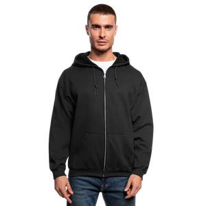 Customizable Men's Zip Hoodie add your own photos, images, designs, quotes, texts and more - black