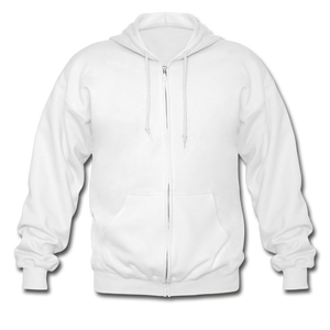 Customizable Gildan Heavy Blend Adult Zip Hoodie add your own photos, images, designs, quotes, texts and more - white