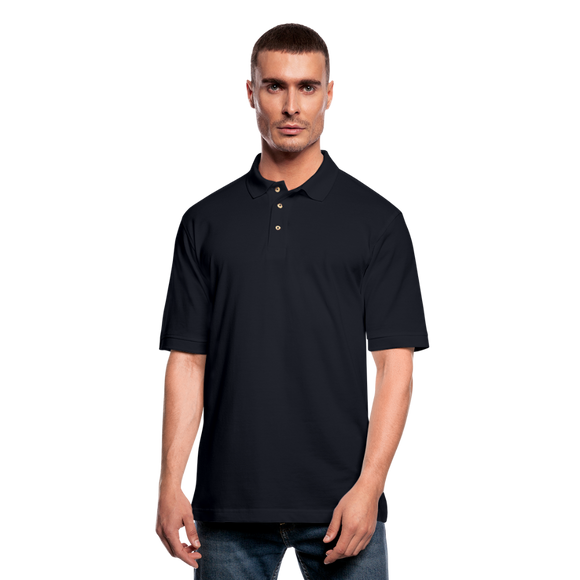 Customizable Men's Pique Polo Shirt add your own photos, images, designs, quotes, texts and more - midnight navy