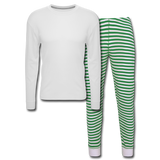 Customizable Unisex Pajama Set add your own photos, images, designs, quotes, texts and more - white/green stripe