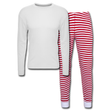 Customizable Unisex Pajama Set add your own photos, images, designs, quotes, texts and more - white/red stripe