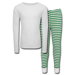 Customizable Kids' Pajama Set add your own photos, images, designs, quotes, texts and more - white/green stripe