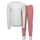 Customizable Kids' Pajama Set add your own photos, images, designs, quotes, texts and more - white/red stripe