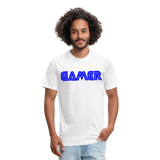 Gamer Word Text Art Fitted Cotton/Poly T-Shirt by Next Level - white