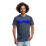 Gamer Word Text Art Fitted Cotton/Poly T-Shirt by Next Level - heather navy