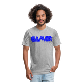 Gamer Word Text Art Fitted Cotton/Poly T-Shirt by Next Level - heather gray