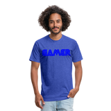 Gamer Word Text Art Fitted Cotton/Poly T-Shirt by Next Level - heather royal