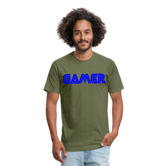 Gamer Word Text Art Fitted Cotton/Poly T-Shirt by Next Level - heather military green