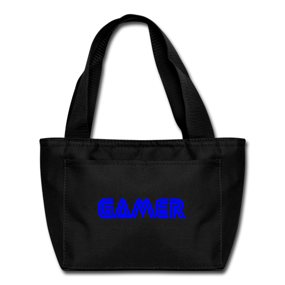 Gamer Word Text Art Lunch Bag - black
