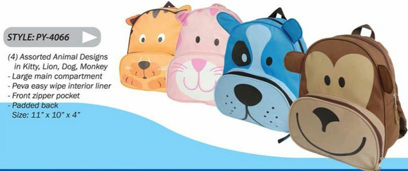 Animal Collection Kitty,Lion,Dog and Monkey Children's Backpacks