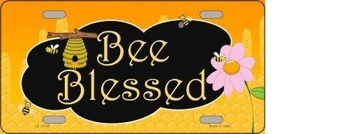 BEE BLESSED HONEY HIVE METAL NOVELTY LICENSE PLATE