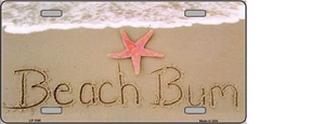 BEACH BUM NOVELTY METAL LICENSE PLATE