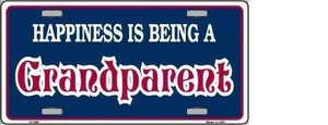 HAPPINESS BEING GRANDPARENT METAL NOVELTY LICENSE PLATE