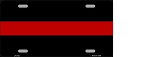 THIN RED LINE FIRE METAL NOVELTY LICENSE PLATE