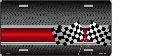 CHECKERED FLAGS METAL NOVELTY LICENSE PLATE