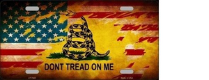 DON'T TREAD ON ME US FLAG NOVELTY METAL LICENSE PLATE