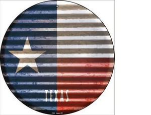 TEXAS FLAG CORRUGATED EFFECT METAL NOVELTY CIRCULAR SIGN