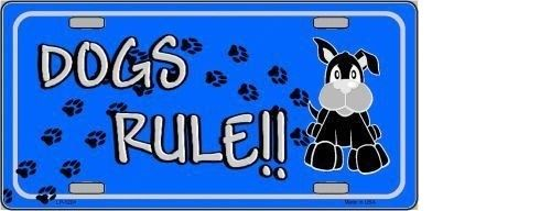 DOGS RULE NOVELTY METAL LICENSE PLATE