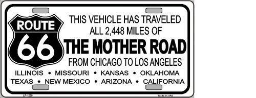 ROUTE 66 MOTHER ROAD NOVELTY METAL LICENSE PLATE