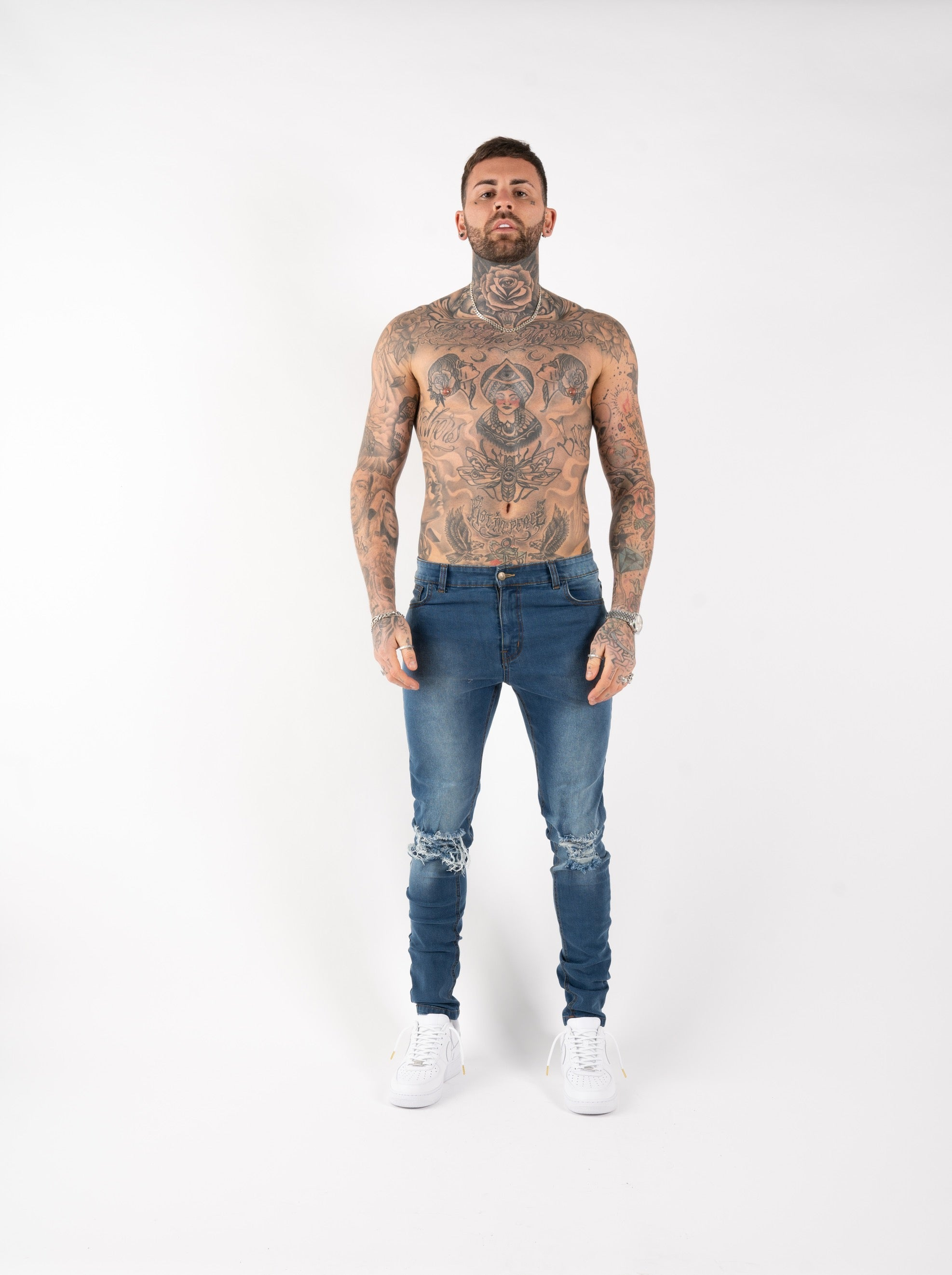SPRAY ON KNEE RIPPED JEANS - BLUE
