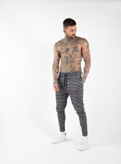 CHECK TROUSERS - GREY
