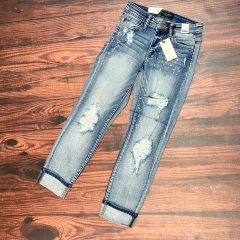 Judy Blue.Distressed Bleach Splatter Boyfriend Cut Jean