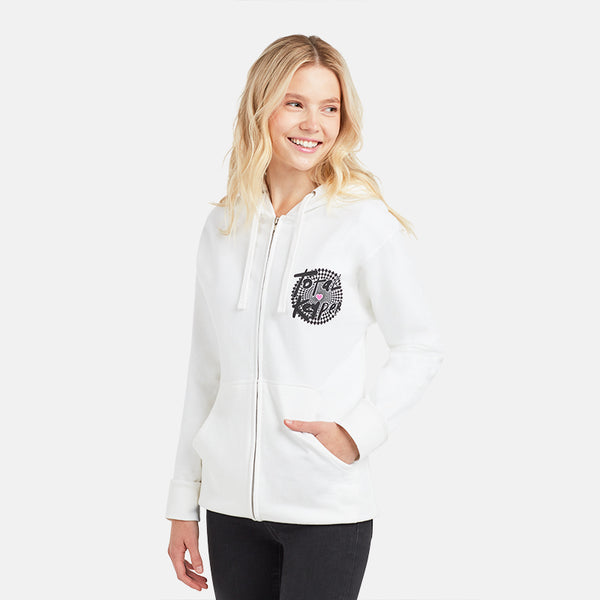 GIRLS WHITE TOTAL KEYPER MOD ZIP HOODIE
