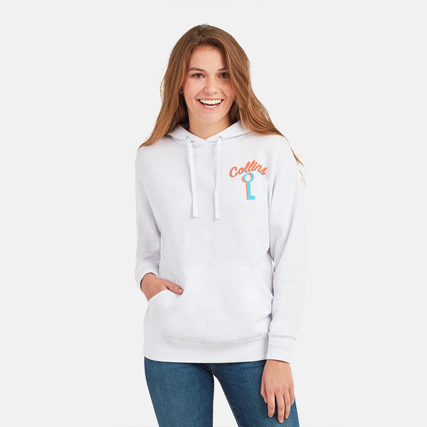 GIRLS WHITE KEY PULLOVER HOODIE
