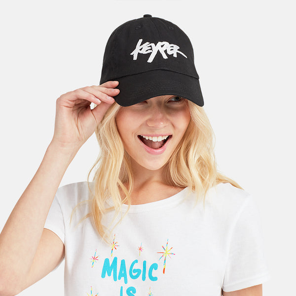 GIRLS BLACK EMBROIDERED KEYPER HAT