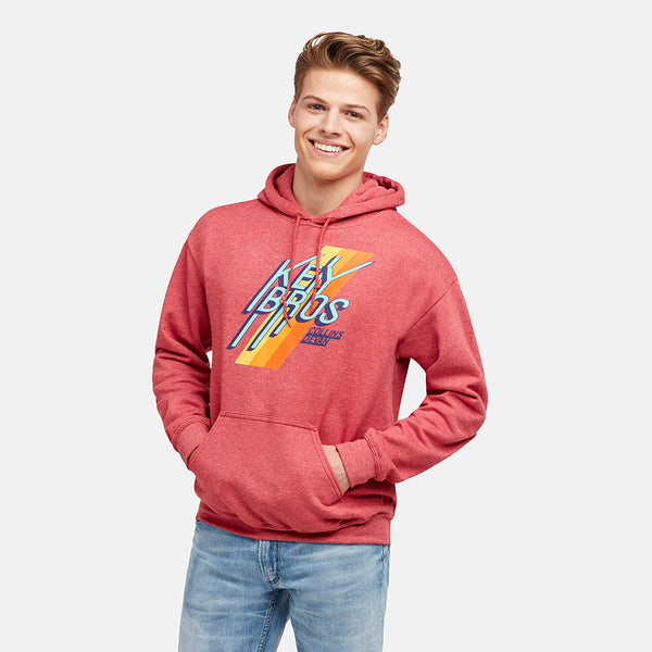 GUYS KEY BROS TEAM HEATHER RED PULLOVER HOODIE