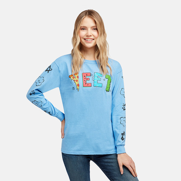 GIRLS YEET PIZZA BLUE LONGSLEEVE