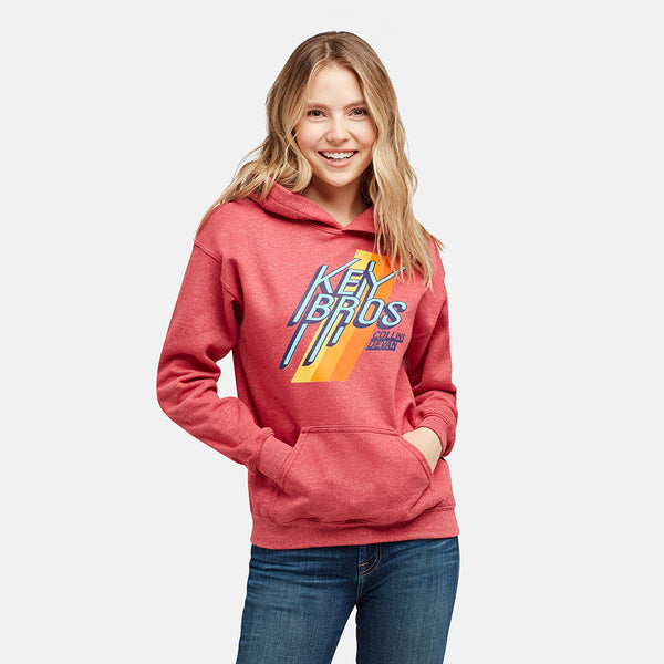 GIRLS KEY BROS TEAM HEATHER RED PULLOVER HOODIE