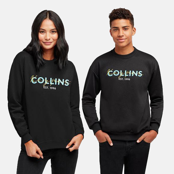 COLLINS CURSIVE EMBROIDERED BLACK CREWNECK